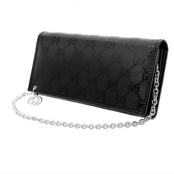 d6985397752 Gucci Bags | Black Imprime Gg Wallet On Chain | Poshmark